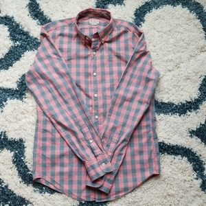 Men's J Crew Pink and Gray Gingham Button Down